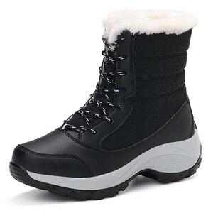 Image 5 - 2019 נשים שלג מגפי חורף מגפיים חמים עבה תחתון עמיד למים פלטפורמת קרסול מגפי נשים עבה פרווה כותנה נעלי גודל 35 42