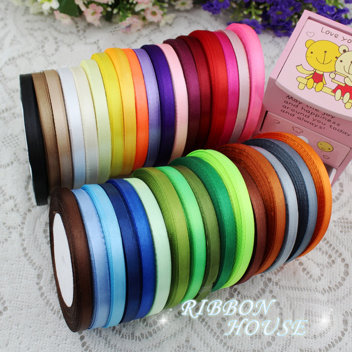 25 yards roll 6mm single face satin ribbon wholesale gift packing christmas ribbons