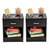 2Pcs Bedroom Furniture Night Stands with Drawer Black Minimalist Modern Storage Cabinet Living Room Bedside Cabinet ship from US