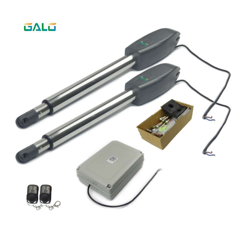 GALO courtyard pasture use electric automatic swing gate opener motor for steel wooden gate with Electric lock galo 300 kg double arms swing gate opener door motor kit with 1 pair of photocells 1 alarm light