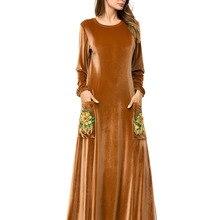 Мусульманское женское платье с длинным рукавом, бархатное, с вышивкой, Дубай, макси, abaya jalabiya, Исламская одежда для женщин, халат, кафтан, Марокканское, 7278