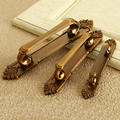 3 Types European Vintage Brass Metal Door Handles For Home Accessories Cabinet Drawer Pull Wardrobe Cupboard Zinc Alloy Knobs