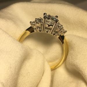 Image 5 - Женское Обручальное Кольцо ANZIW, кольцо из стерлингового серебра 925 пробы желтого золота с тремя камнями и круглой огранкой, ювелирные украшения для влюбленных