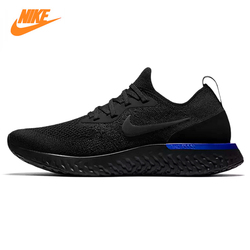Nike Epic React Flyknit Men's and Women's Running Shoes, Black & Blue, Breathable Non-slip Impact Resistant AQ0067 004