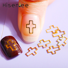 500 pieces / bag 6.0X8.0mm Hollow Glossy Cross Frame Nail Art Decorations Gold Rivet Manicure Accessories Charm Ornament
