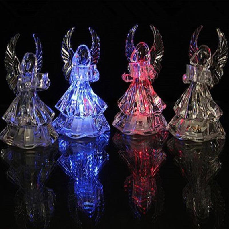 New Acrylic Lovely Praying Angel Shape Changeable Multi Colored Night Light Led Lamp Home Decor Lights Christmas Ornaments Gifts In From