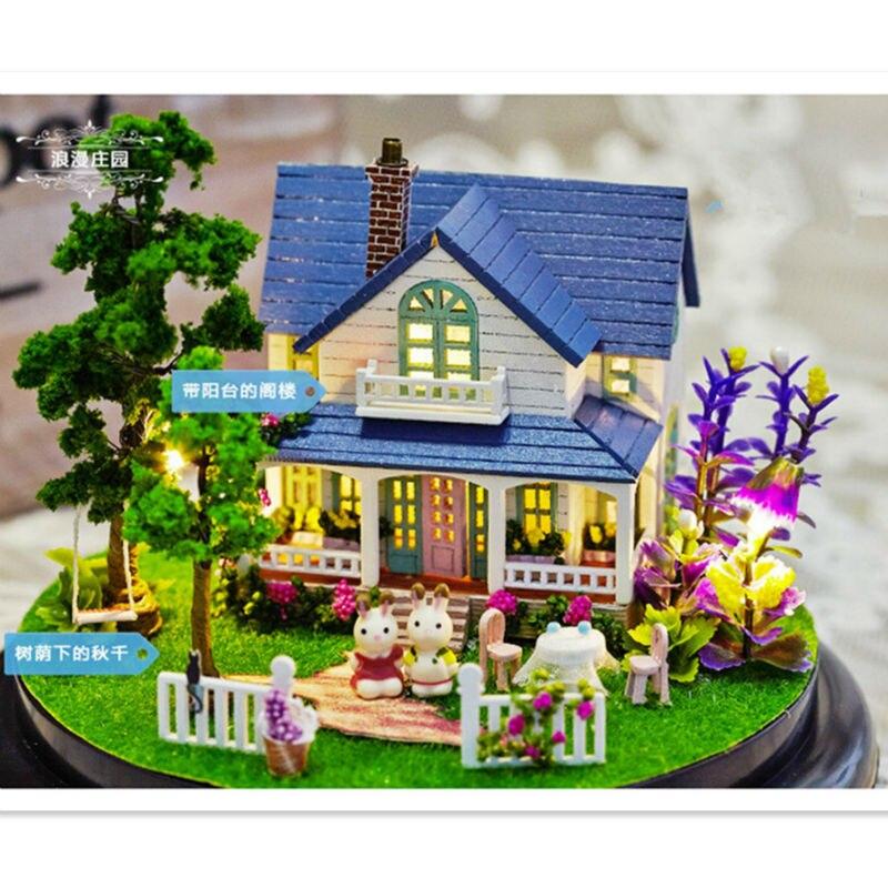 Romantique Châteaux maison de poupée miniature Assemblage Christimas de jouet pour enfant Jouet, Mignon bricolage balle en plastique modèle de maison Kits de Construction