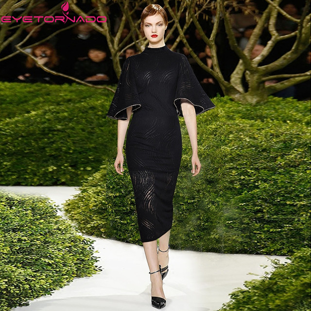 Summer Flare Sleeve Bodycon Party Dress 2019 Women Beadings Sheath Office Hollow out Bandage Sexy Midi Black Dress E6032