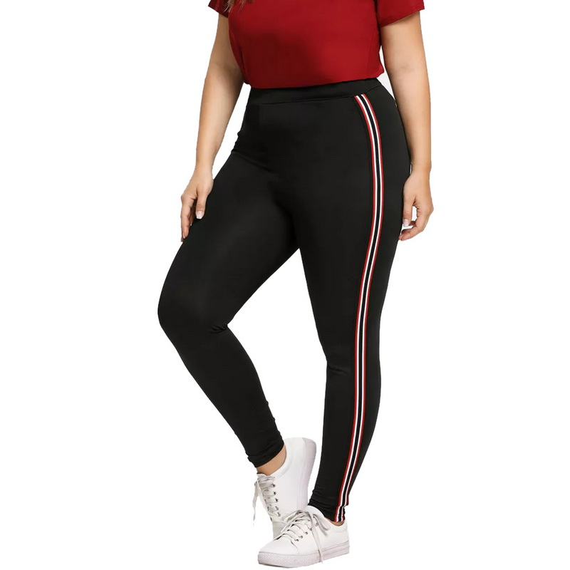 Laamei Women Pants Leggings Elastic Fitness Side-Striped Sport-Workout Big-Size 5XL 4XL