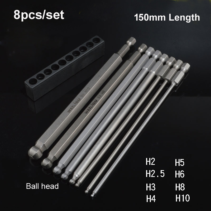 8Size/lot S2 Steel Magnetic Hex 150mm Length Ball Head Hexagon Screwdriver Bit Set Hand Tools H2 H2.5 H3 H4 H5 H6 H8 H10