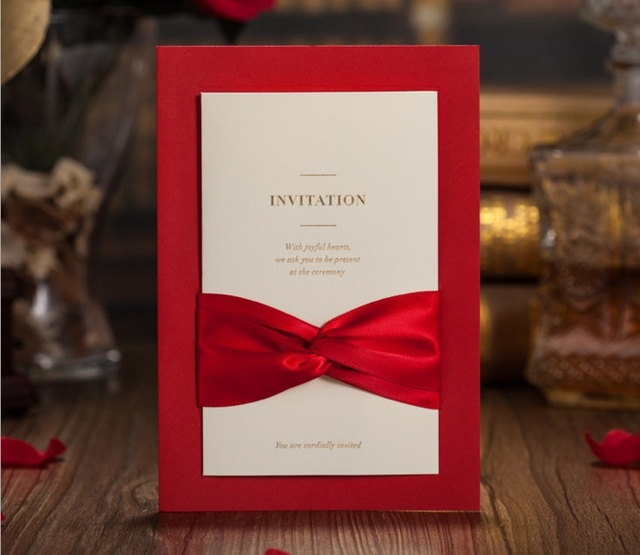 50pcs wishmade cw2021 red wedding greeting invitation card with bow