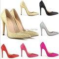 Женщины острым носом тонкие высокие каблуки свадебные свадебная обувь падение корабль оптовая сексуальное клин блестки искра пром насосы золото серебро красный