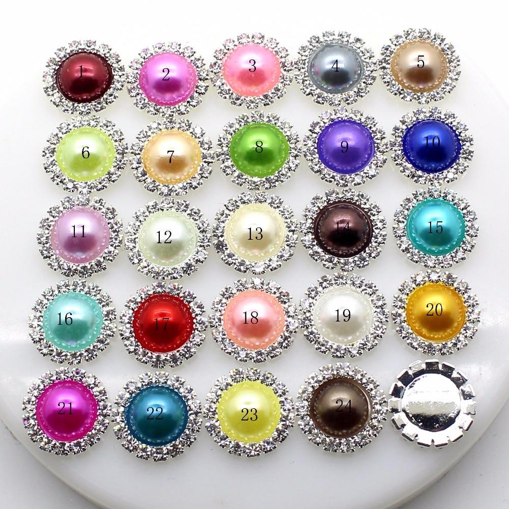 Новый 10 шт./компл. 16 мм Красочный Круглый Жемчуг Кнопки Flatback брошь кристалл для Свадебный букет детская лента для волос декоративные