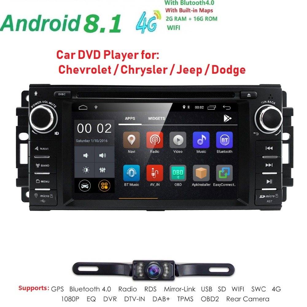 1 Din Android 8.1 Car DVD Player For jeep Grand Cherokee Chrysler 300 Compass Chevrolet Epica Dodge RAM Wrangler Car Radio Audio