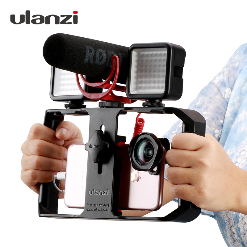 Ulanzi U Rig Pro Smartphone Telefone Vídeo Rig Vídeo Estabilizador Aperto Tripé com Mic LEVOU Luz Porta para iPhone andriod