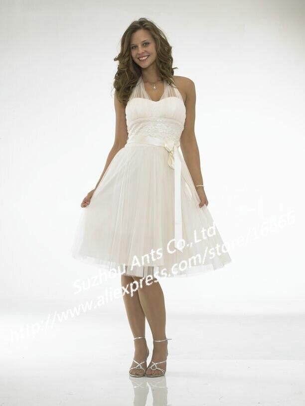 TWG060 Custom Made Halter Short Wedding Dress White Ribbon In Dresses From Weddings Events On Aliexpress