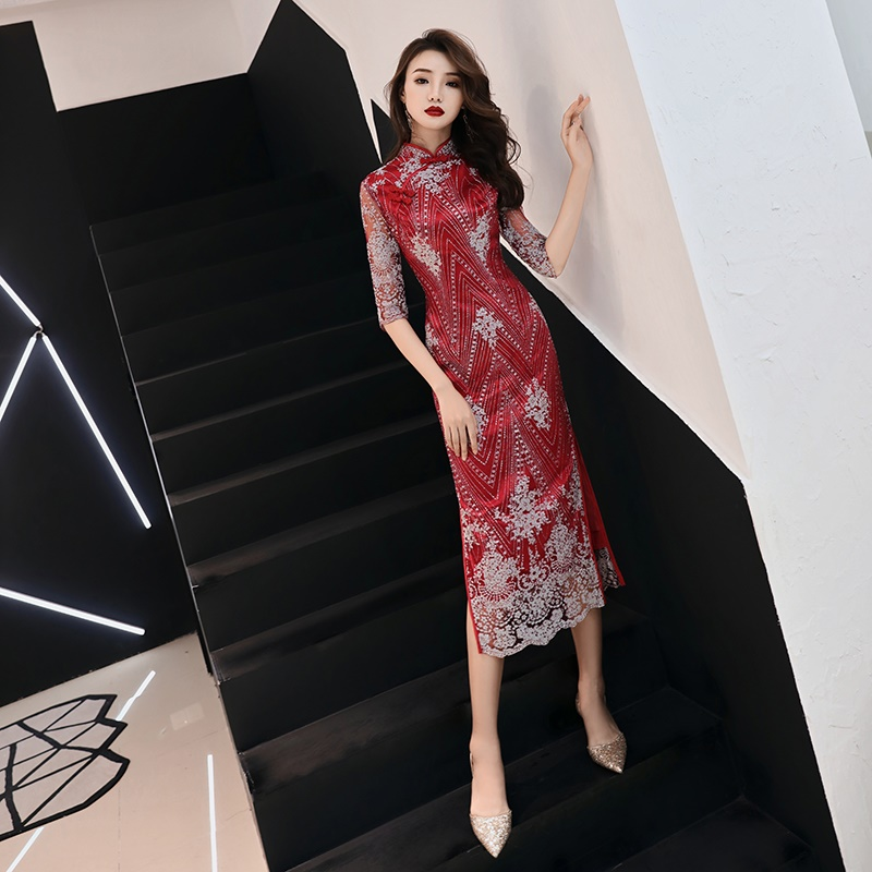 Traditional Chinese Wedding Gown 2019 Wine Lace Half Sleeve Stretch Cheongsam Qipao Dress Midi Elegant Chinese