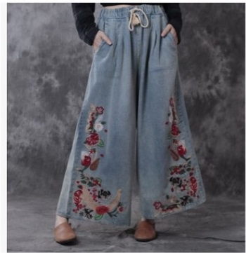 Spring 2017 product launches, original design loose big yards of womens denim leisure nine points wide-legged pants