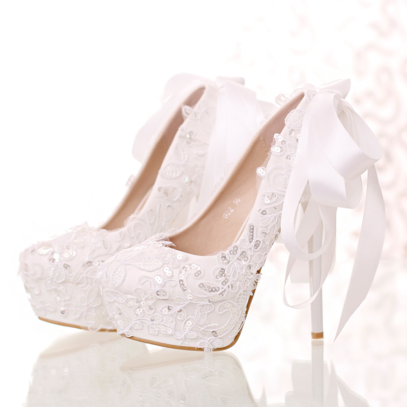 12cm/14cm White lace Bowtie party shoes round toe thin heel wedding shoe up heel hot sale party single shoes