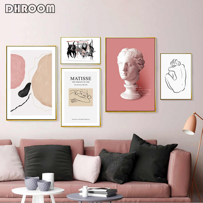 Modern Minimalist Roman Classical Style Nordic Matisse Wall Art Venus Sculpture Canvas Painting Living Room Decorative Picture