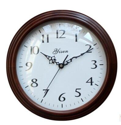 Подлинное Европейское качество модные настенные часы креативные гостиной спальни коричневые деревянные настенные часы круглые экологиче... - 2