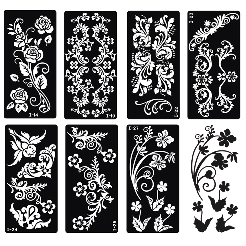 Temporary Tattoo Stencils Henna: Xmasir 20 Sheet Indian Henna Tattoo Stencil Kit For