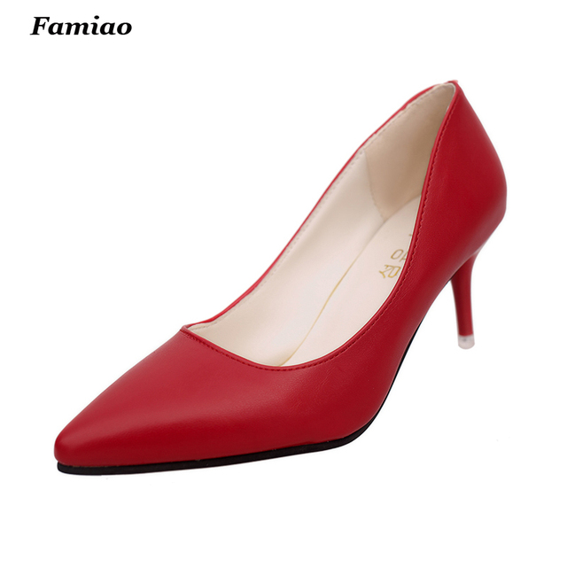 2017 New Fashion pointed toe 7.5cm high heels women pumps thin heel classic red bottom sexy party wedding shoes