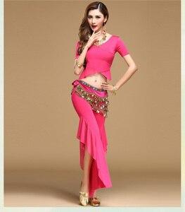 Image 3 - Qualità danza del ventre costume set di danza del ventre practice abbigliamento indiano set di garza set pantaloni set di blocchi di colore 8 colori Top & pantaloni e Cintura