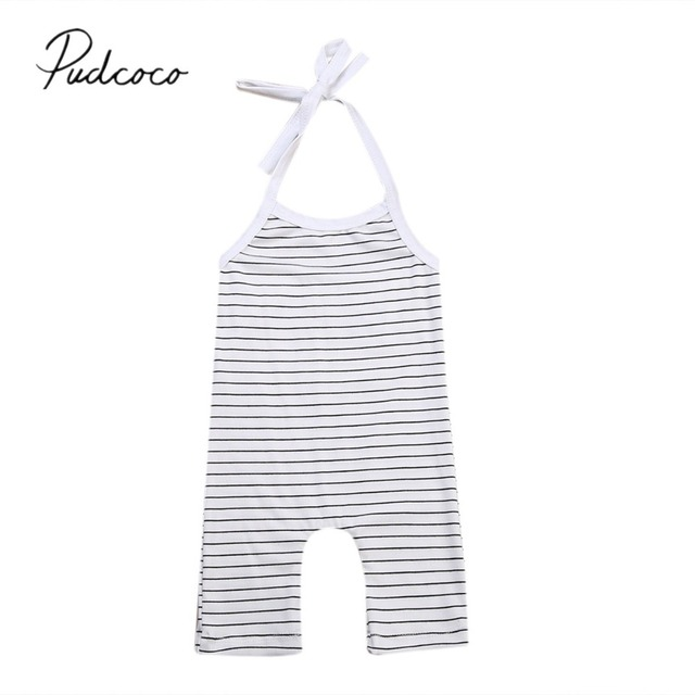 6764e2863384 2019 Baby Summer Clothing Newborn Baby Girls Boy Stripe Romper Jumpsuit  Outfits Girl Sleeveless Straped Sunsuit Clothes 0-24M