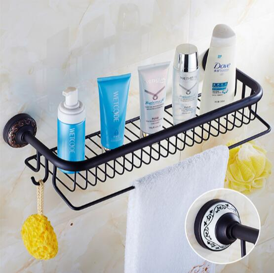 ФОТО fashion high quality total brass material black Oil plating  bathroom shelves accessories corner bathroom shampoo holder basket