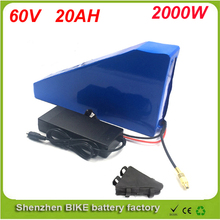 Triangle style 60V 20AH Lithium Battery ,with 1800W BMS Chargrer , RC E-bike Electric Bicycle Scooter 67.2V battery ,free bag