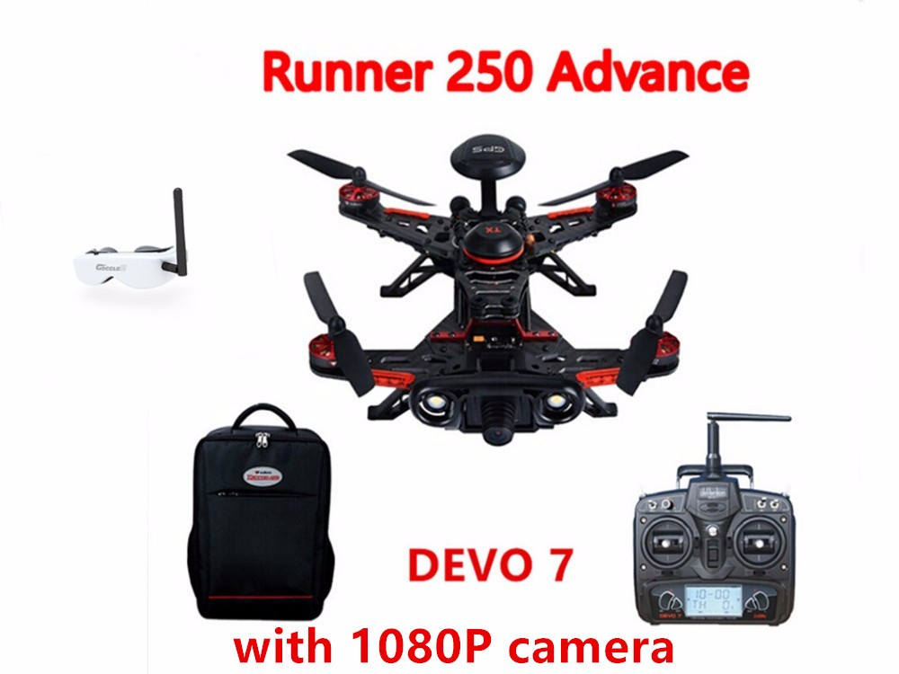 Walkera Runner 250 Advance GPS System RC Racer Quadcopter RTF with DEVO 7 Transmitter OSD 1080P Camera GPS Goggle 2 F19357