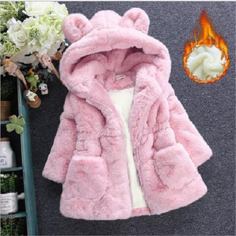 Winter Baby Girls Clothes Faux Fur Fleece Jackets Thick infant Coat Rabbit Ear Warm kids Jacket Xmas Snowsuit Children Outerwear