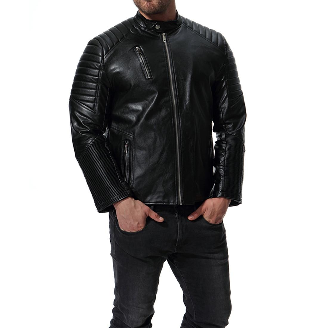 Motocicleta Hombres Jaqueta xxl Hombre S Masculinas Cremallera Cuero 2018 Chaqueta Marca Multi Negro 7Rq8av