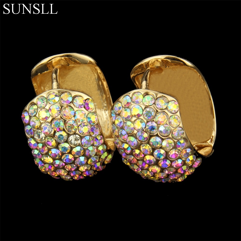 SUNSLL Golden Color Copper Trendy Multicolor Crystal Hoop Earrings Womens Fashion Party Jewelry Cobre Brincos ...