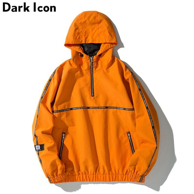 Темно-икона письмо напечатаны на ленты рукав половина пуловер с косой молнией куртка для мужчин женщин мужчин куртка с капюшоном ветровка К...