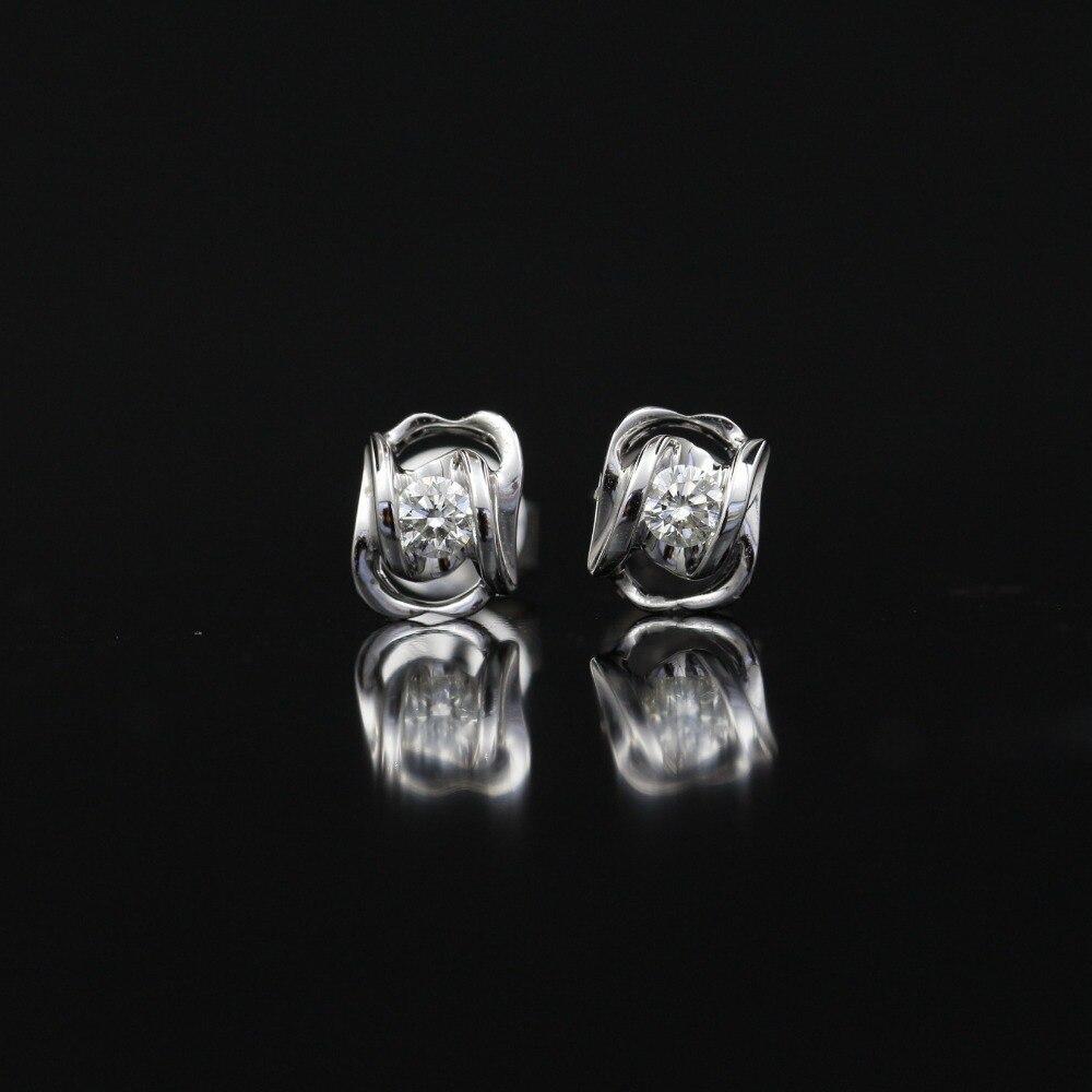 LASAMERO 0.116CT boucles doreilles en grappe de diamants naturels taille ronde 18 K boucles doreilles en or blanc avec diamant HaloLASAMERO 0.116CT boucles doreilles en grappe de diamants naturels taille ronde 18 K boucles doreilles en or blanc avec diamant Halo