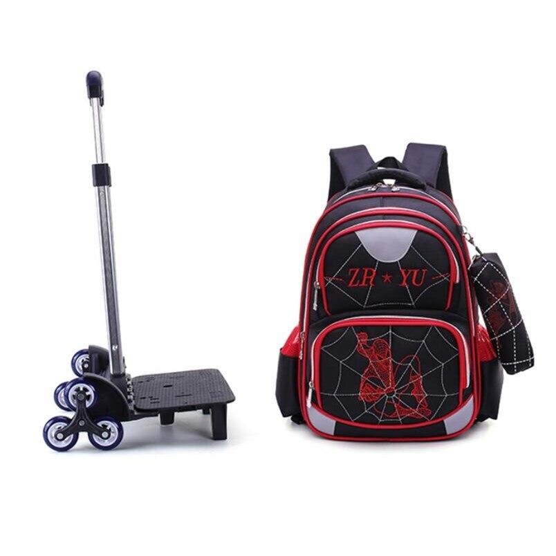 OKKID garçons détachable sac à dos d'école avec roues trolley sacs d'école pour enfants sac à crayons bawaterproof nylon sac d'école ensemble