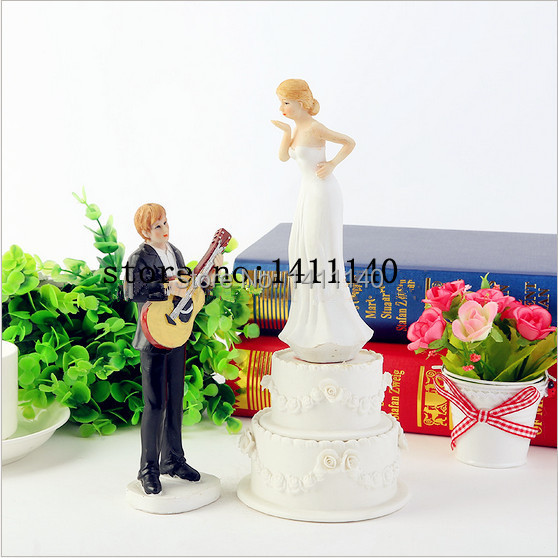 New Arrived Music Guitar Couple Wedding Cake Toppers Figurines For Decorations With Free