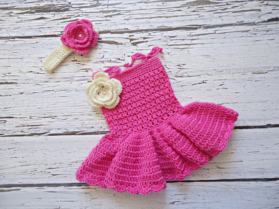 Newborn Dress Photo Prop, Baby CROCHET Dress, Girl Dress