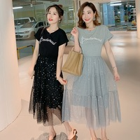 Summer new sequin mesh stitching short sleeved dress gentle breastfeeding Korean fashion letters embroidered skirt