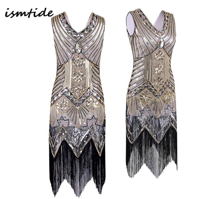 Great Gatsby Dress Sequined Vintage Dresses Women V Neck Beaded Fler Art Deco 1920s