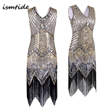 Great Gatsby Dress Sequined Vintage Dresses Women V Neck Beaded Flapper Dress Sequined Art Deco 1920s Party Dresses Night Sexy