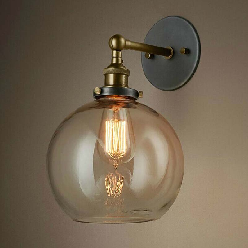 Modern version Nordic Wall Lamp American Aisle Balcony Lamp Vintage Lamp Transparent Glass Light GY128 lo1024