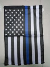 aerlxemrbrae  45cmx30cm Thin Blue Line the Stars and Stripes Flag Police Cops Law Enforcement Home Decor Polyester Garden Banner