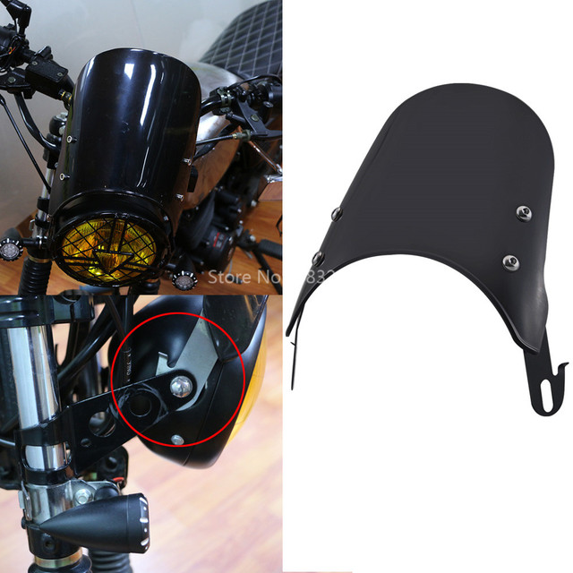 5-7 Inch Compact Sport Retro Cafe Racer Windshield Instrument Visor For Sportster Honda Yamaha XJR 1300 Suzuki GSX 1400 Royal