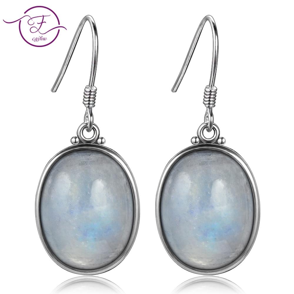 925 Sterling Silver Earrings 10X14MM Large Oval Natural Moonstone Elegant Simple Pendant Earrings Wholesale Engagement Part