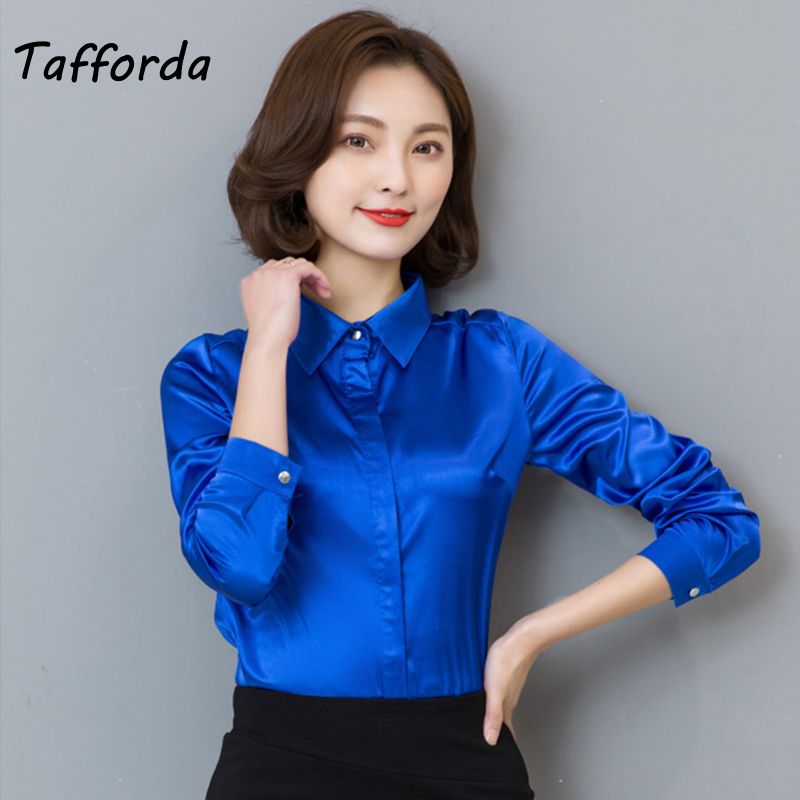 Tafforda 2018 Women Silk Satin Blouse Elegant Female Satin Silk Blouses Shirt Long Sleeve Button Lapel Ladies Office Work Shirts