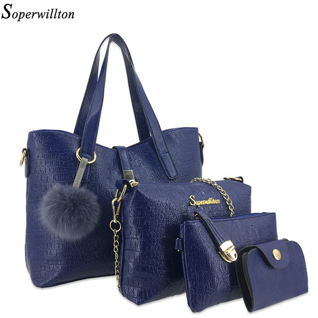 Women's Bag Set Alligator Real Fur PomPom Ball Handbag Shoulder Messenger Bags Female 4 Piece Bolsas Feminina