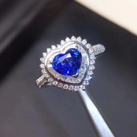 Love Heart Wedding Ring 18K White Gold Natural sapphire ring Real original blue sapphire Ring 6.8*4.7mm 1.25ct 3.86g